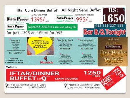 Ramadan buffet deals in lahore