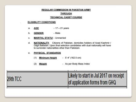 Regular Commission In Pakistan Army Through Technical Cadet Course