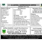 Garrison College Lahore Cantt Admission 2017 A Level Pre Medical, Engineering