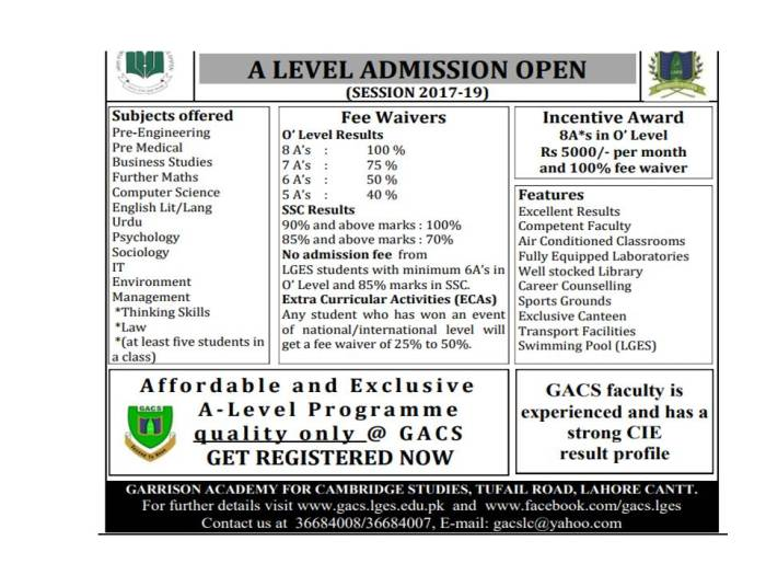 Lahore Garrison Education System A Level Admission Open 2017