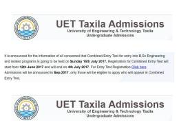 UET Taxila Entry Test Result 2017 Date Online Check At Test Portal