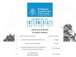 Forman Christian College Lahore Admission 2017 Last Date FC College For FSc
