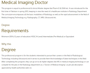 BSc Medical Imaging Technology In Pakistan Admission 2017 All Health Sciences Colleges