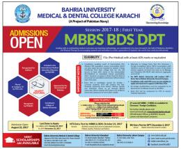 Bahria University Medical And Dental College Karachi Entry Test Result 2017