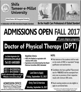 Islamabad Shifa Tameer-e-Millat University DPT Entry Test Result 2017, Interview List
