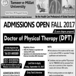 Doctor Of Physical Therapy Admission In Islamabad 2017 Shifa Tameer-e-Millat University