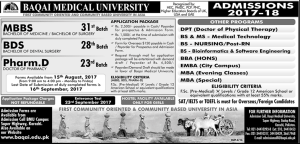 BS Bioinformatics In Pakistan Admission 2017 Baqai Medical University