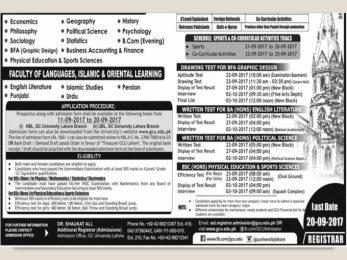 GC University Lahore BA admission 2017 BSc, BFA, BCom Honours Apply Online