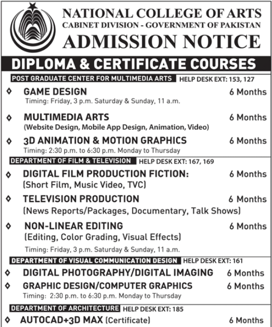 National College of Arts Admission 2017 Advertisement