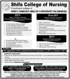 Shifa College Of Nursing Islamabad Admission 2017 Merit List 1st, 2nd, 3rd