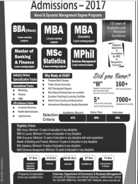 UVAS Lahore BBA MBA MSc Statistics MPhil Admission 2017 Open