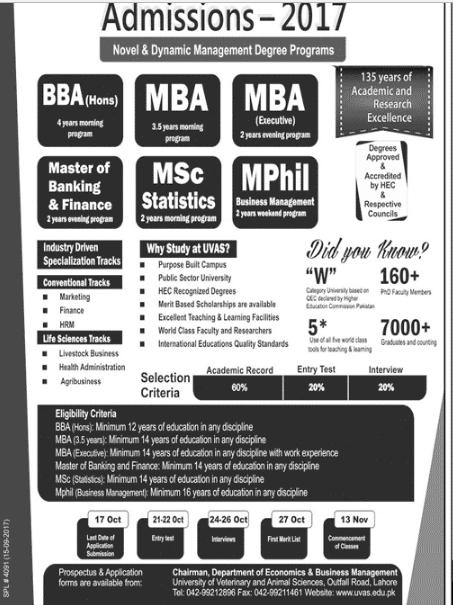 UVAS Business School MBA, BBA, MSc Admission 2017 Advertisement