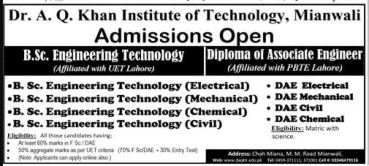 Dr AQ Khan Institute Of Technology Mianwali Admission 2017 Engineering Technology Fee Structure