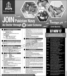 Join Pakistan Navy As Doctor through M Cadet Scheme 2018 Batch 3 Apply Online