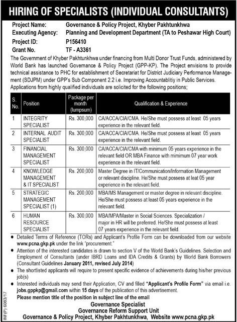 Planning and Development Department KPK PCNA Jobs 2017 Advertisement
