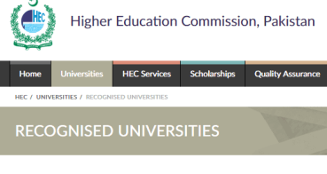 Universities Under HEC Medical In Pakistan