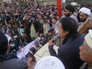 Imran Khan addressing protesters in Quetta