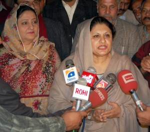 MNA Tehmeena Doltana talking to media