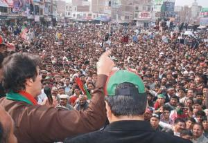 Imran Khan is addressing public gathering in Toba Tek Sing