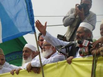 Siraj ul Haq speaking at rally in Lahore