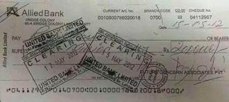 A copy of the cheque