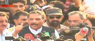 Ijaz ul Haq is briefing media about talks