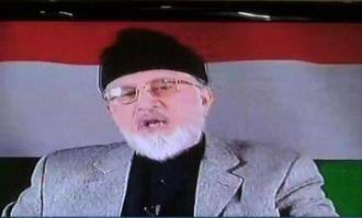 Allama Dr Tahir ul Qadri is addressing media via video link from Canada