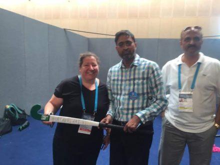 Shahbaz Ahmad presents 'Signed' Hockey Stick toThe Hockey Museum