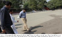 Aamir Jan visits mini hockey ground and E-Library Project