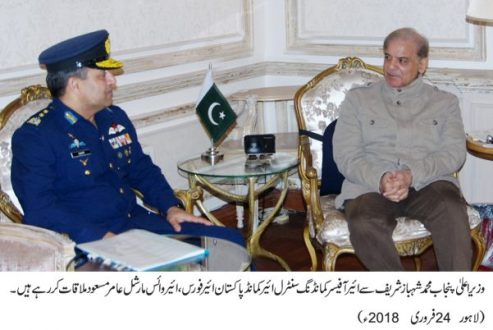 Air Vice Marshal Aamir Masood, called on Chief Minister Punjab Muhammad Shehbaz Sharif