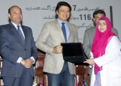 Minister Higher Education distributes laptops among medical students