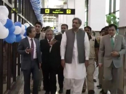 PM Abbasi inaugurates expansion of Bacha Khan International Airport
