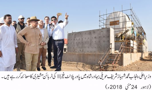 Shahbaz Sharif visited Haveli Bahadur Shah power plant