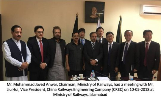 Vice President, China Railways calls on Chairman PR Muhammad Javed Anwar