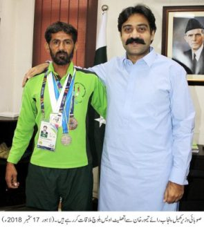 Sports Minister met with athlete Awais Baloch
