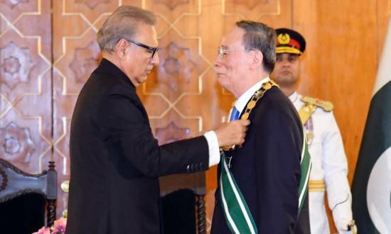 Chinese Vice President Wang Qishan called on President Arif Alvi