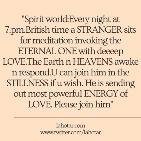 Spirit world:Every night at 7.pm.British time...