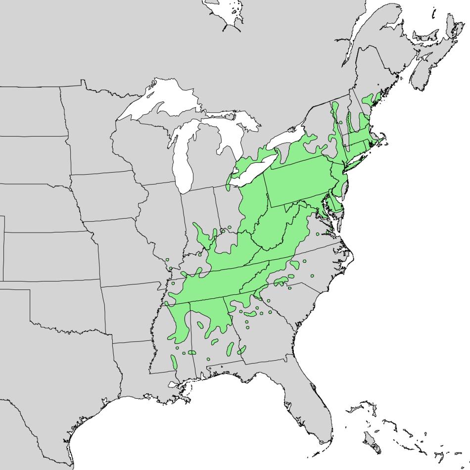 Maps showing Original range of the American chestnut
