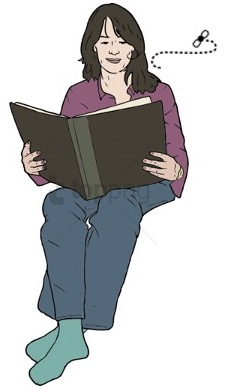 Drawing of woman reading while a fly buzzes by.
