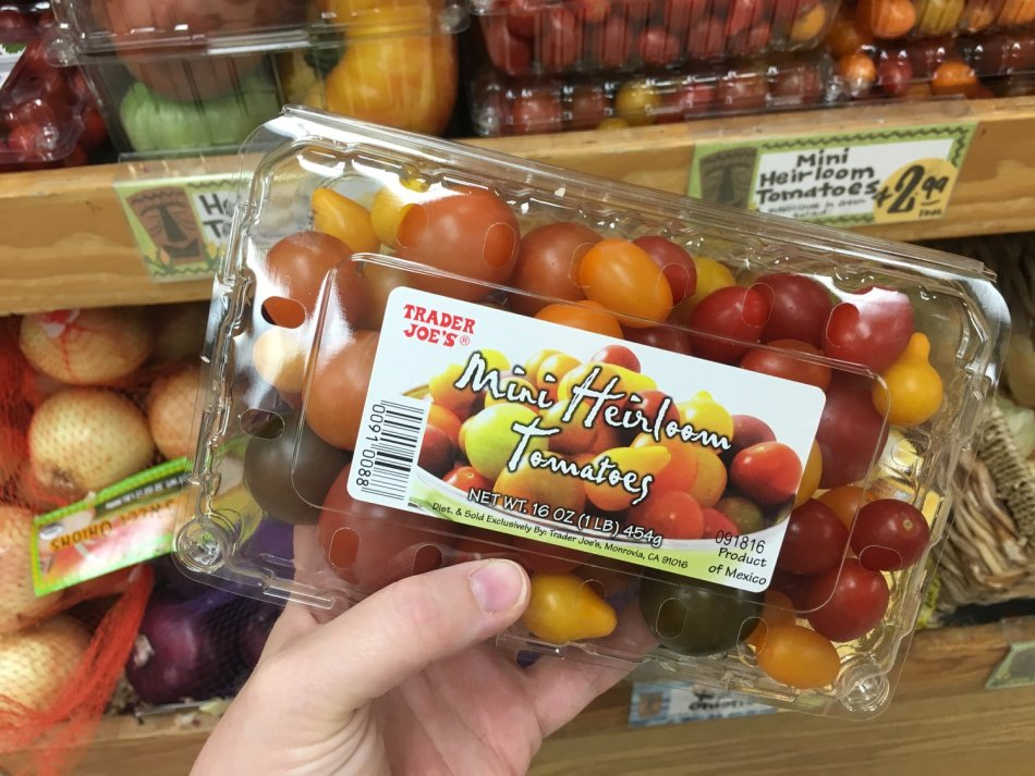 Mystery heirloom tomatoes in a plastic pack.