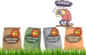 Man discouraged by four lawn fertilizer applications.