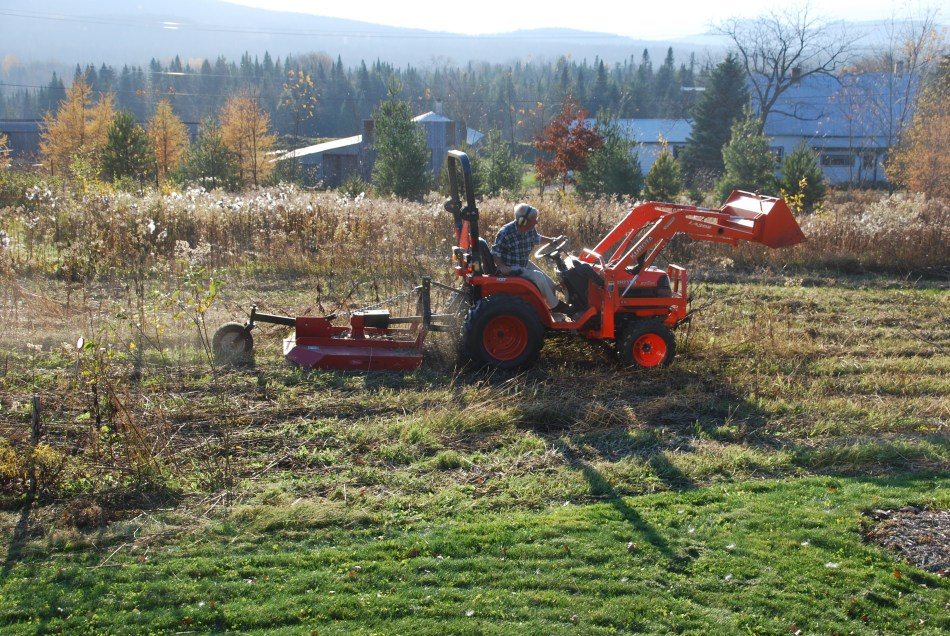 Mowing with a tractor in brush cutting mode.