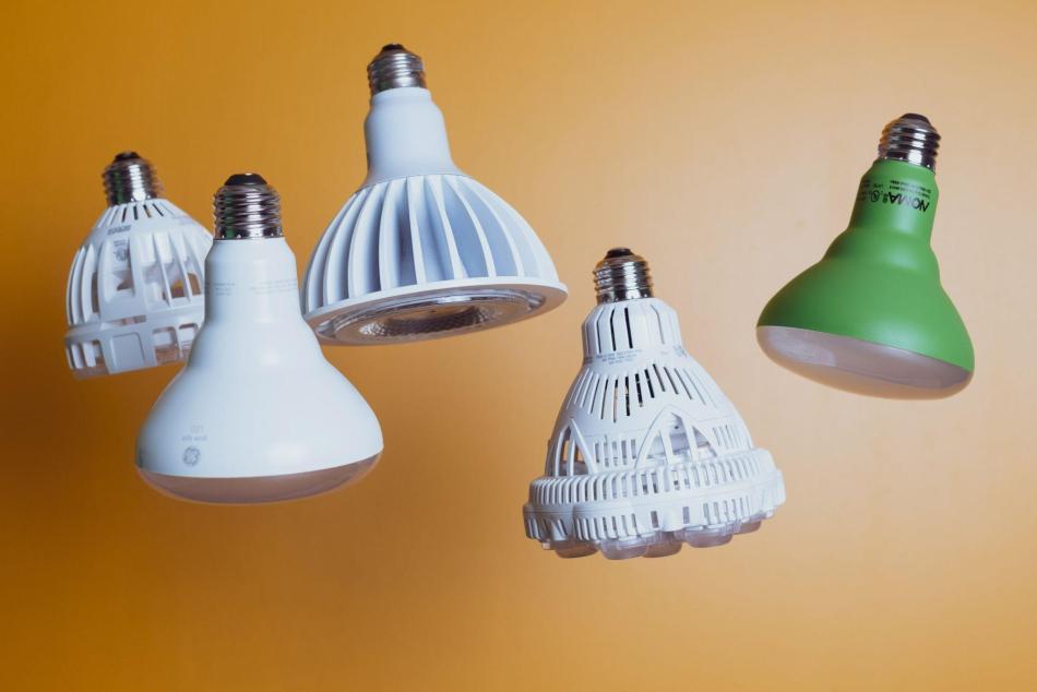 Five different screw-in grow lights.