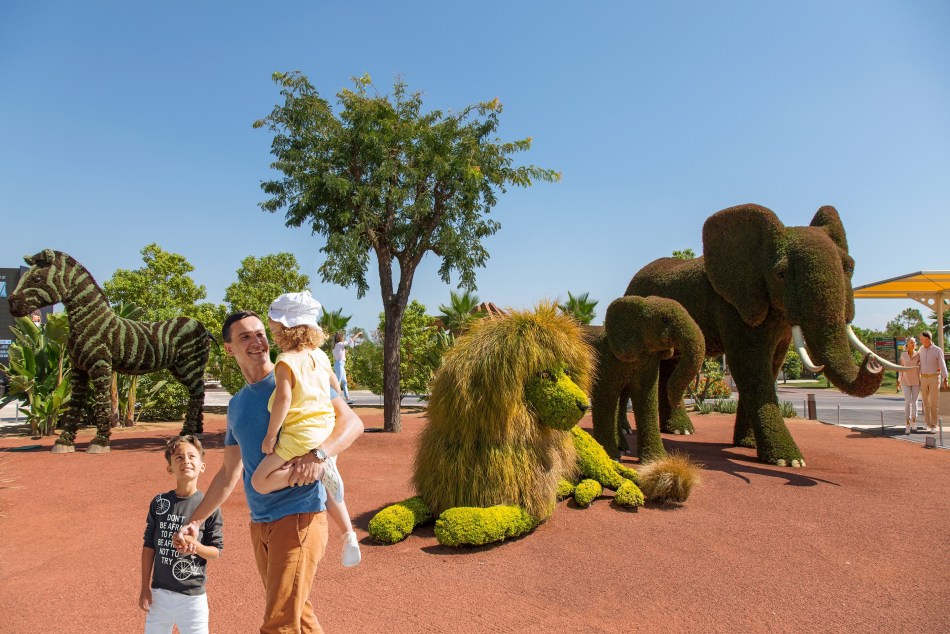 Mosaiculture sculptures of African animals