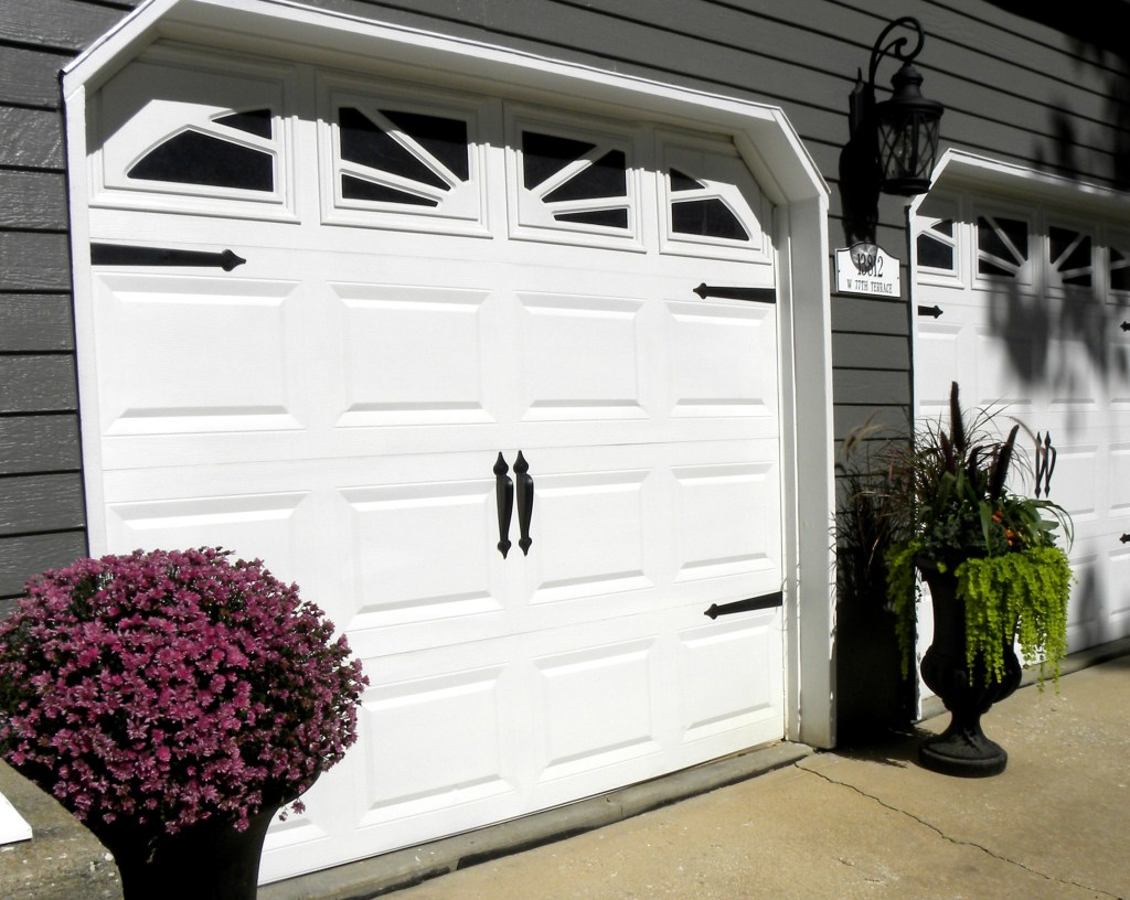 Laila Belles Garage Doors and Fall Container Urns