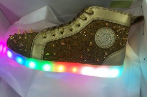 Gold High Top Spinning Light Up Sneakers