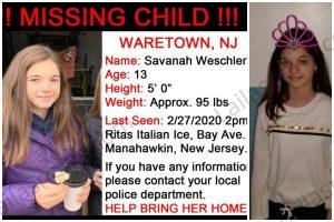Savanah Weschler missing: 13 year old child Savannah Weschler