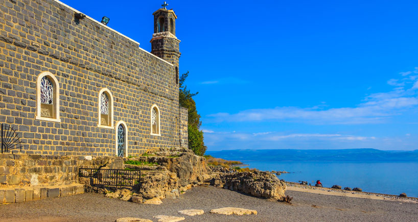 Tabgha is an area situated on the north-western shore of the Sea of Galilee in Israel. It is traditionally accepted as the place of the miracle of the multiplication of the loaves and fishes and the fourth resurrection appearance of Jesus after his Crucifixion.