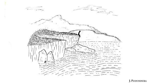 ilustración bolígrafo hombre sentado  sobre el mar