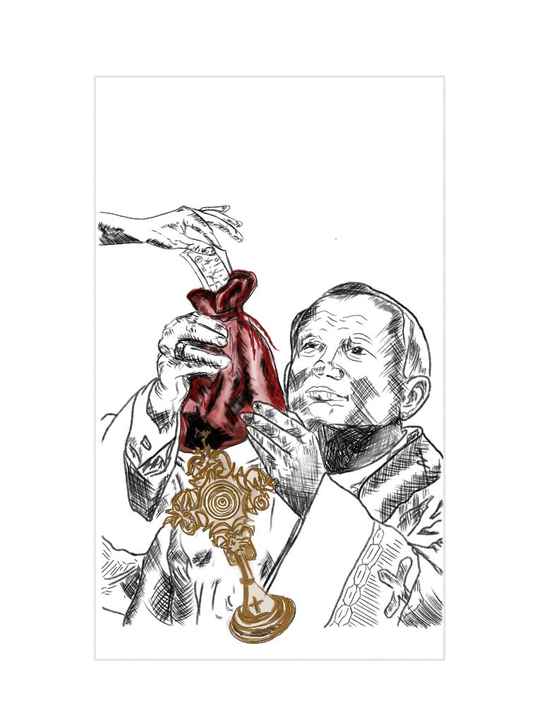 ilustracion papa robo iglesia